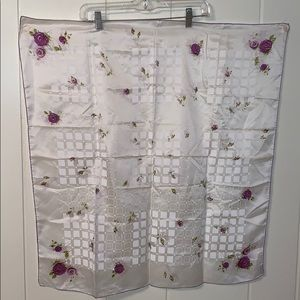 Vtg white rayon/silk scarf with purple flowers